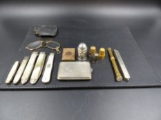 A 9ct MATCH HOLDER DATED 1902, TOGETHER WITH A TURQUOISE SET THIMBLE AND ONE OTHER (TESTS AS GOLD