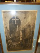 AXEL H.HAIG. 1835-1921) THREE PENCIL SIGNED ETCHINGS OF CATHEDRAL INTERIORS. LARGEST. 74 x 49cms.