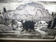 GRAHAM CLARKE. (1941-??) ANDERIDA OAK, PENCIL SIGNED LIMITED EDITION ETCHING. 37 x 57cms.