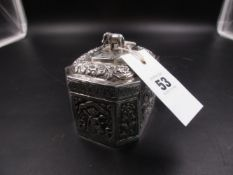 A WHITE METAL, TESTED AS SILVER, EASTERN SPICE CADDY. H 8.5cms x W.9cms, WEIGHT 190grms.