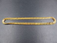 A 585 STAMPED PRECIOUS YELLOW METAL SQUARE BYZANTINE LINK SOLID GOLD CHAIN, LENGTH 76cmS, WEIGHT