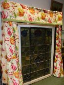 CURTAINS. TWO PAIRS OF COUNTRY HOUSE LINED AND INTERLINED CURTAINS, ONE OF PANSY PATTERN, THE