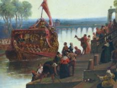 19th.C.ENGLISH SCHOOL. ROYAL BARGES IN A CLASSICAL SETTING, OIL ON CANVAS. 64 x 123cms.