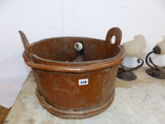AN ANTIQUE COOPERED AND HAZEL BOUND TWO HANDLED TUB, A WROUGHT IRON FOUR BRANCH CHANDELIER, STAG