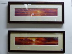 D.PALMER. CONTEMPORARY SCHOOL. ARR. A PAIR OF SIGNED LIMITED EDITION COLOUR PRINTS OF COASTAL