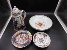 CHINESE EXPORT AND JAPANESE IMARI WARES. A TAPERING CYLINDRICAL CHOCOLATE POT AND COVER PAINTED WITH