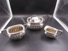 A THREE PART QUEEN ANNE STYLE SILVER TEA POT, SUGAR BASIN AND MILK JUG, DATED 1908, FOR W.G.