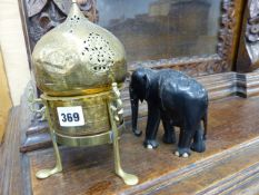 A COLLECTION OF EASTERN BRASSWARE AND VARIOUS CARVED HARDWOOD ELEPHANTS TOGETHER WITH WITH OTHER