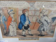 AN EARLY 19th.C.COMIC PRINT ENTITLED A VISIT TO THE DOCTOR, HAND COLOURED. 23 x 31.5cms. TOGETHER