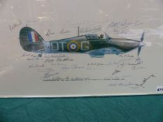 A LIMITED EDITION BATTLE OF BRTAIN MUSEUM APPEAL PRINT OF A HAWKER HURRICANE SIGNED BY NUMEROUS