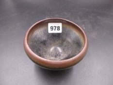 A CHINESE BOWL WITH HARE'S FUR GLAZE. Dia.12cms.