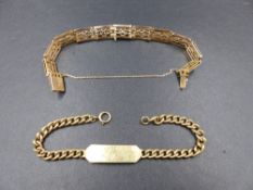 TWO 9ct GOLD BRACELETS TO INCLUDE A 9ct ROSE GOLD SOLID GATE BRACELET COMPLETE WITH SAFETY CHAIN AND
