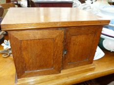 AN EDWARDIAN OAK COIN COLLECTOR'S CABINET WITH PANEL DOORS ENCLOSING NINE COIN SLIDES. 36 x 27 x H.