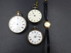 A 9ct GOLD LADIES SEKONDA WRISTWATCH AND THREE OPEN FACED SILVER POCKET WATCHES TO INCLUDE A CHESTER