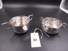 A SILVER PORRINGER DATED 1908 FOR JOHN HENRY RAWLINGS, TOGETHER WITH A FURTHER WHITE METAL, TESTS AS