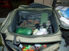 TWO BAGS CONTAINING A LARGE QTY OF FISHING EQUIPMENT TOGETHER WITH LANDING NETS,ETC. (QTY) (I)