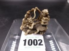 A JAPANESE CARVED IVORY NETSUKE OF VARIOUS DEMONS AND MYTHICAL FIGURES. H.4cms.