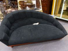 MASSIMO SCOLARI FOR GEORGETI. A PAIR OF SUEDE UPHOLSTERED CHAISE LONGUE SOFAS UNITED AT EACH END
