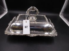 A VICTORIAN GEORGIAN STYLE SIVER HALLMARKED ENTREE DISH AND COVER,DATED 1894 SHEFFIELD FOR MAPPIN