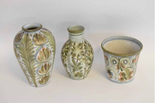 Two Denby Glyn Colledge Green Floral Vases With Stamp To Base