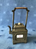 Lot 26 - Chinese pewter geometric teapot with lid & bamboo covered handle, 21cmH