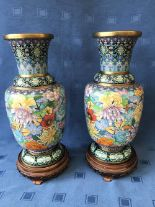 Lot 17 - Pair of Chinese bright, colourful, floral cloisonné vases on carved wooden stands, 44cmH overall