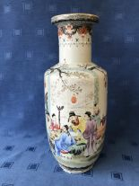 Lot 35 - Chinese Republic vase decorated with figures & calligraphy, seal mark to base, 47cmH