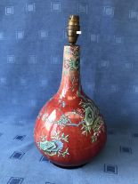 Lot 14 - Chinese Sang Du Boeuf lamp decorated with birds & flowers, 32cmH