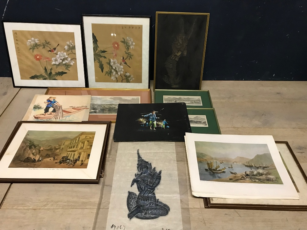 Lot 55 - Qty of Chinese silk pictures and prints