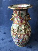 Lot 5 - Cantonese vase with all over decoration of figures & flowers, gilded Dogs of Fo handles and fluted