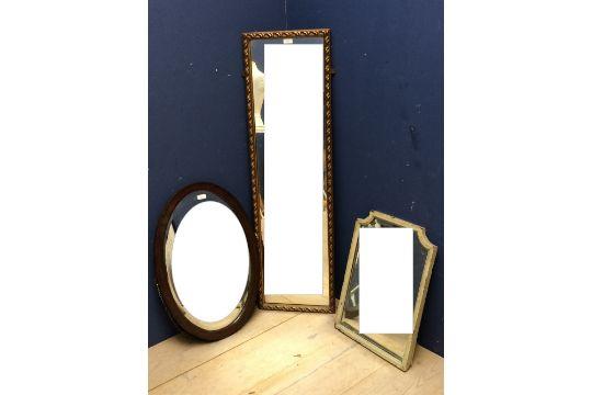Oak framed oval mirror with beveled glass 67 x 47, gilt framed ...