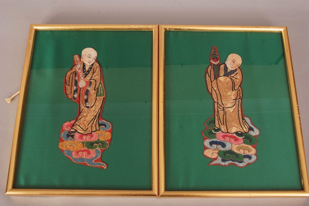 Lot 46 - Pair of C19th/20th Chinese embroidered panels, each embroidered with Luohan and mounted in frames,