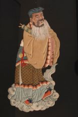 Lot 45 - Chinese silk embroidered panel, woven with an immortal, Qing dynasty, framed, 37.8 x 60cm.