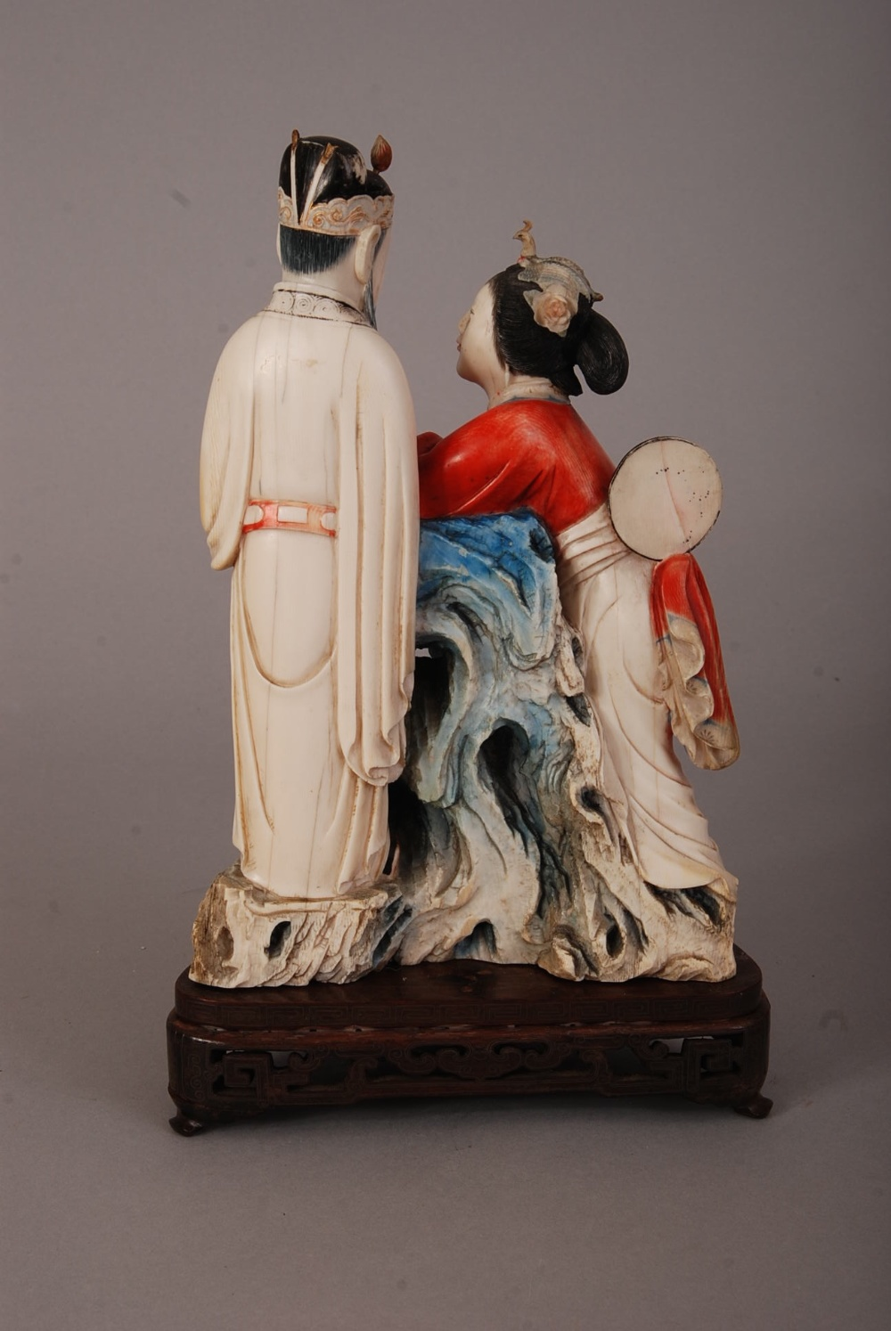 Lot 52 - C19th Chinese stained ivory figure group of a court lady and an officer, 26.5cm high, silver-