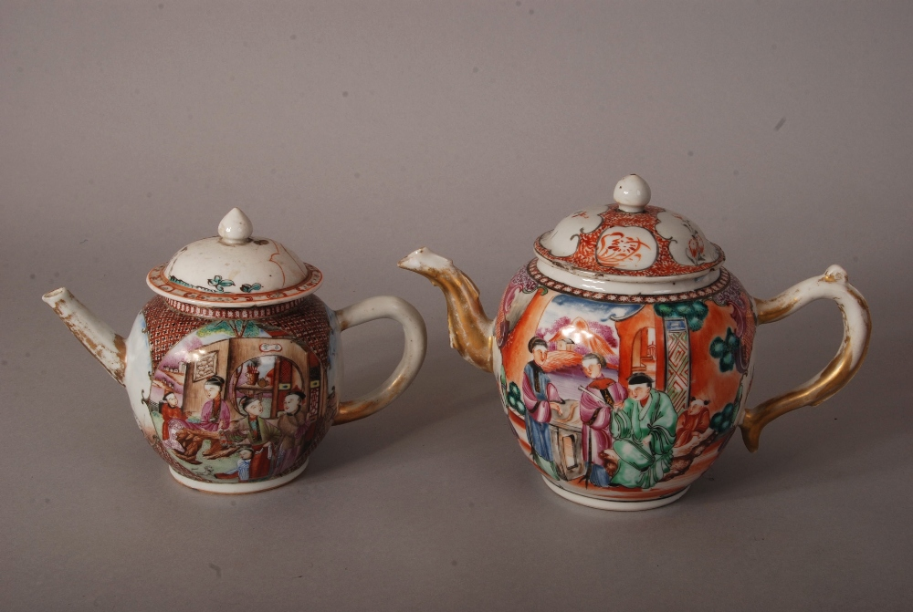Lot 24 - 2 C18th Chinese famille rose teapots and covers, each painted with figures at leisure on riverside