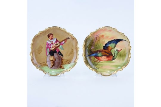 Two (2) Antique Limoges Coronet Hand painted Cabinet Plates. Signed ...