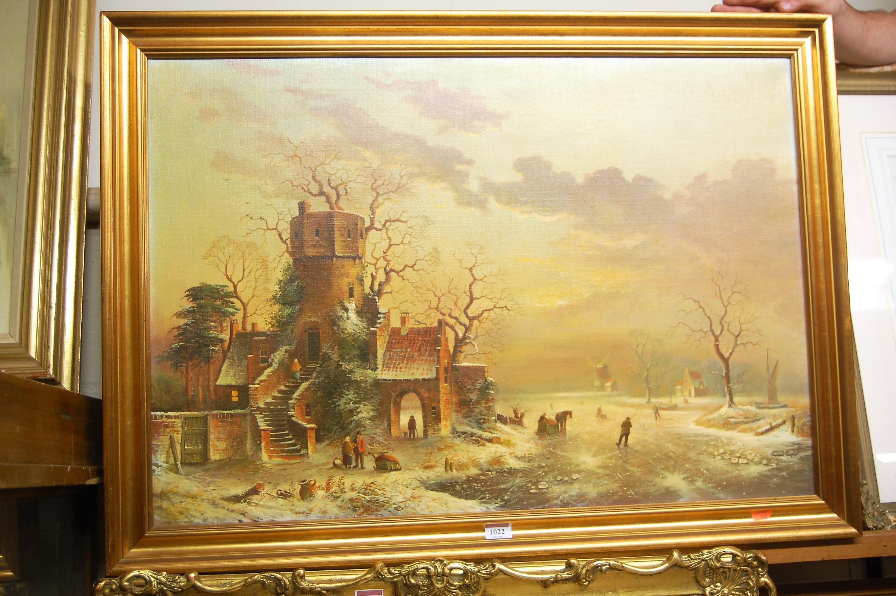 Lot 1022 - Contemporary Dutch school - Winter landscape, oil on canvas, 54 x 78cm