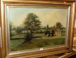 Lot 1035 - W. Highfield - Pair; The Toll Bargate, and Stone House in a landscape, oil on canvas, each signed
