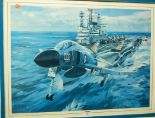 Lot 1013 - After Michael Turner - Royal Navy Phantom aircraft taking off from HMS Ark Royal, poster print