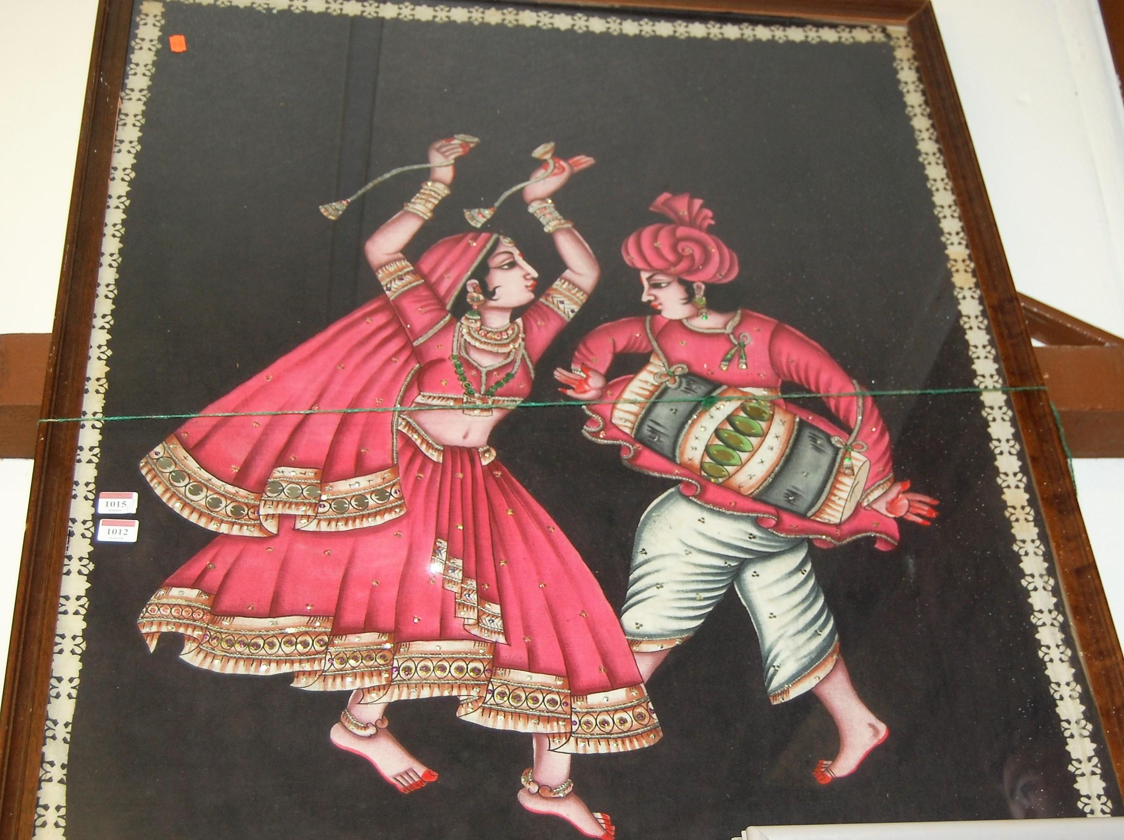 Lot 1012 - Indian school - Dancers, mixed media on batik, 116 x 85cm