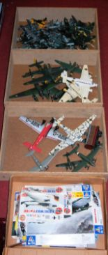 Lot 1598 - A large quantity of mixed plastic kit built aircraft sold with original plans and empty boxes