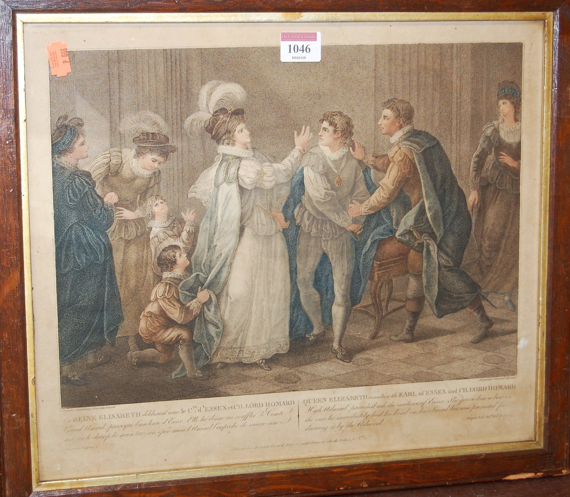 Lot 1046 - A set of five 19th century Anglo-French colour engravings, depicting scenes with members of the