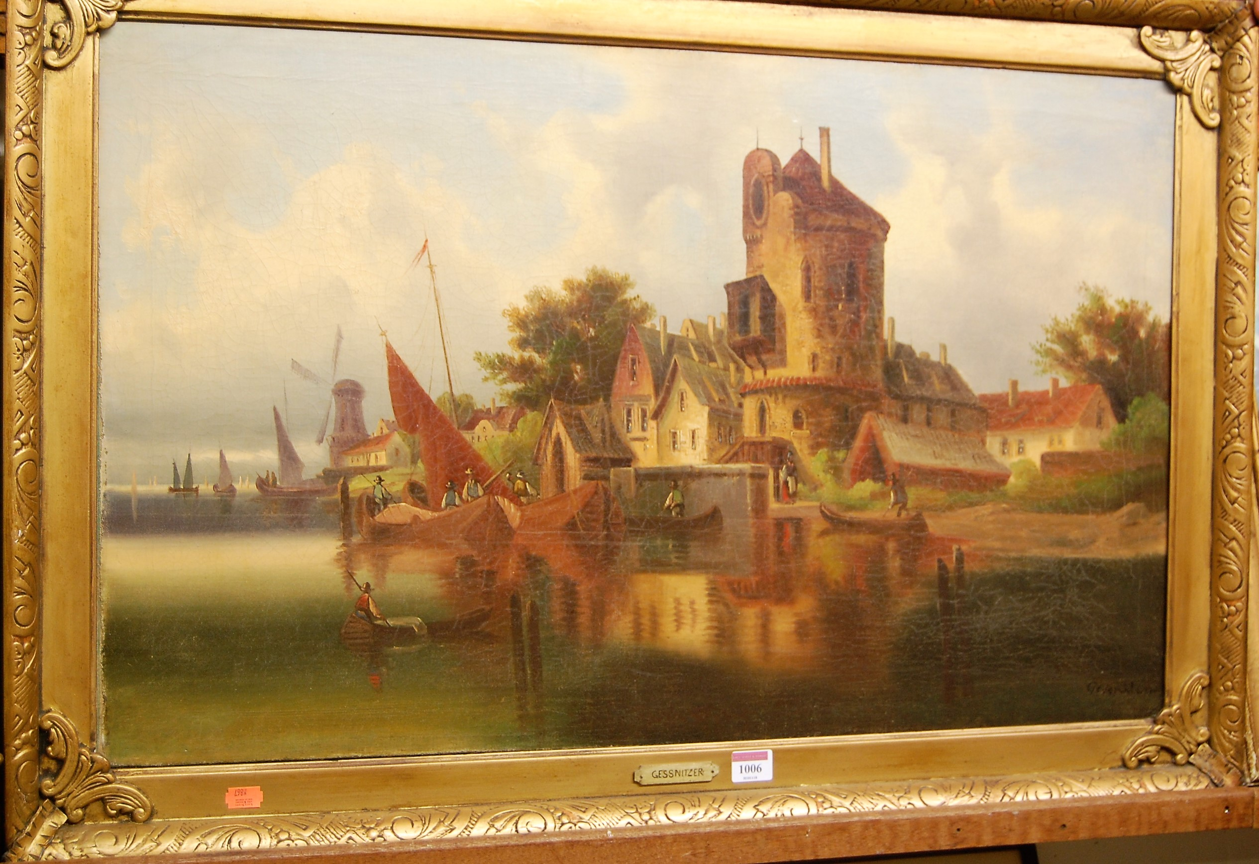 Lot 1006 - Gessnitzer (German late 19th century) - Dutch Canal scene, oil on canvas, signed lower right, 50 x