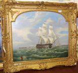 Lot 1028 - 19th century school - Three-masted gunship in choppy seas, oil (re-lined), 48 x 59cm