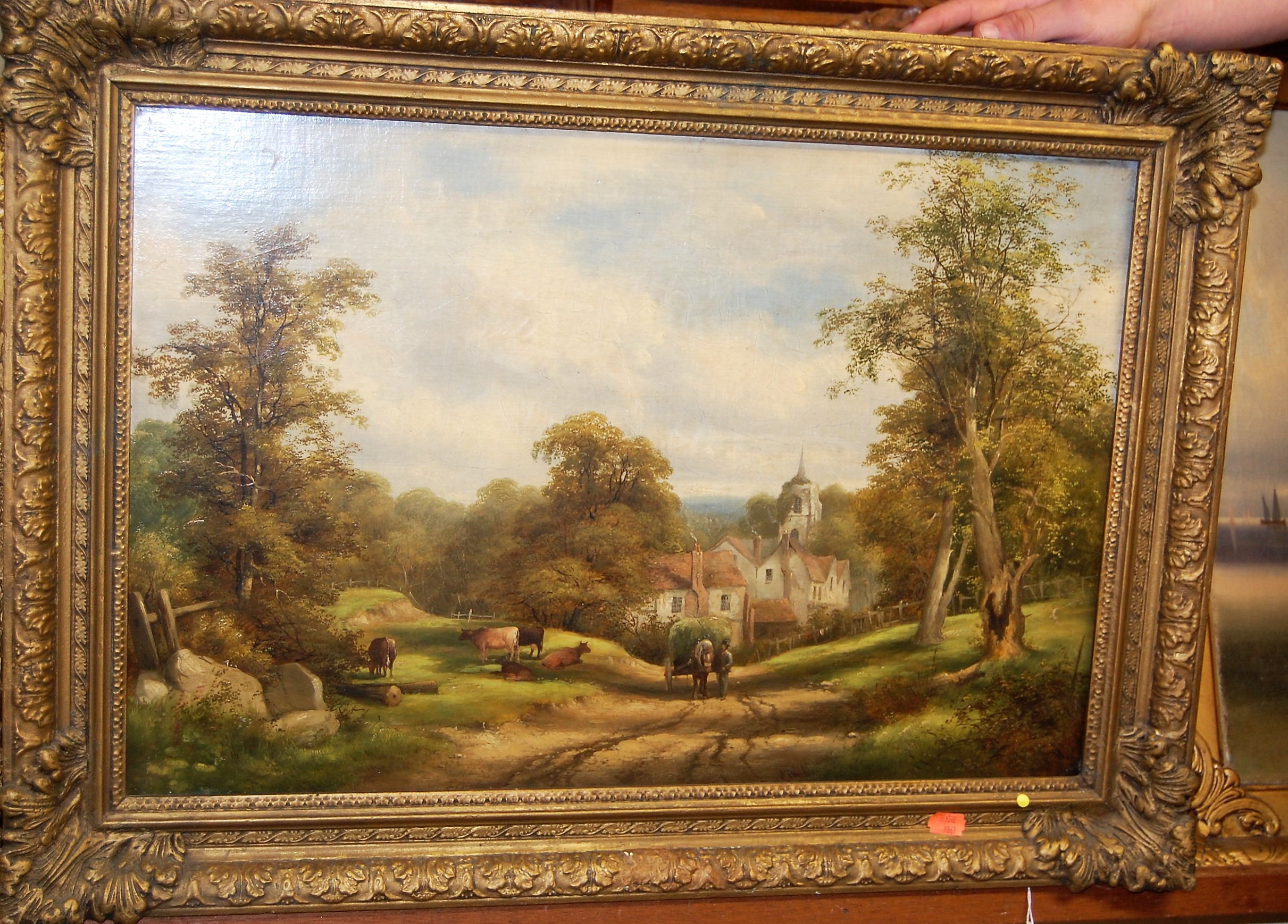 Lot 1007 - Circa 1900 English school - Haycart in a rural landscape, oil on canvas, 39 x 59cm