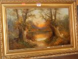 Lot 1037 - Henry Cooper - Woodland clearing at sunset, oil on canvas, signed lower left, 30 x 50cm