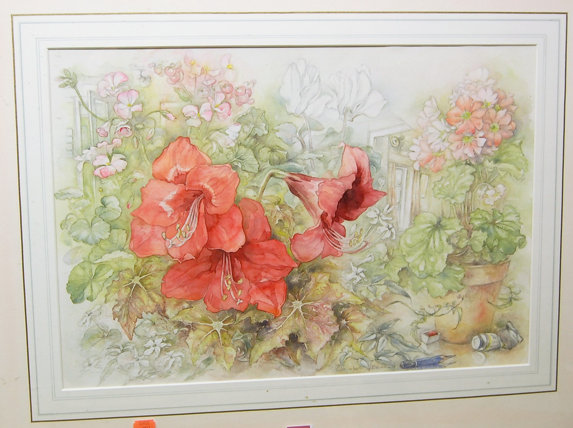Lot 1021 - Elizabeth Bearstow - Cadmium Red, watercolour, signed lower centre, 37 x 54.5cm