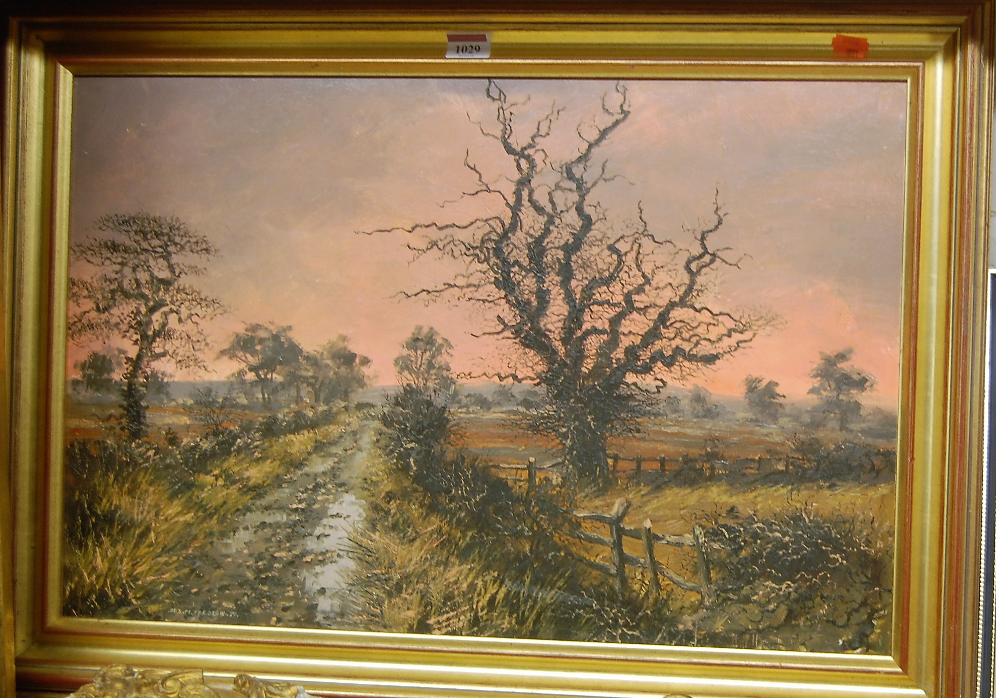 Lot 1029 - Rex N. Preston - Landscape at sunset, oil on board, signed and dated '70 lower left, 38 x 59cm