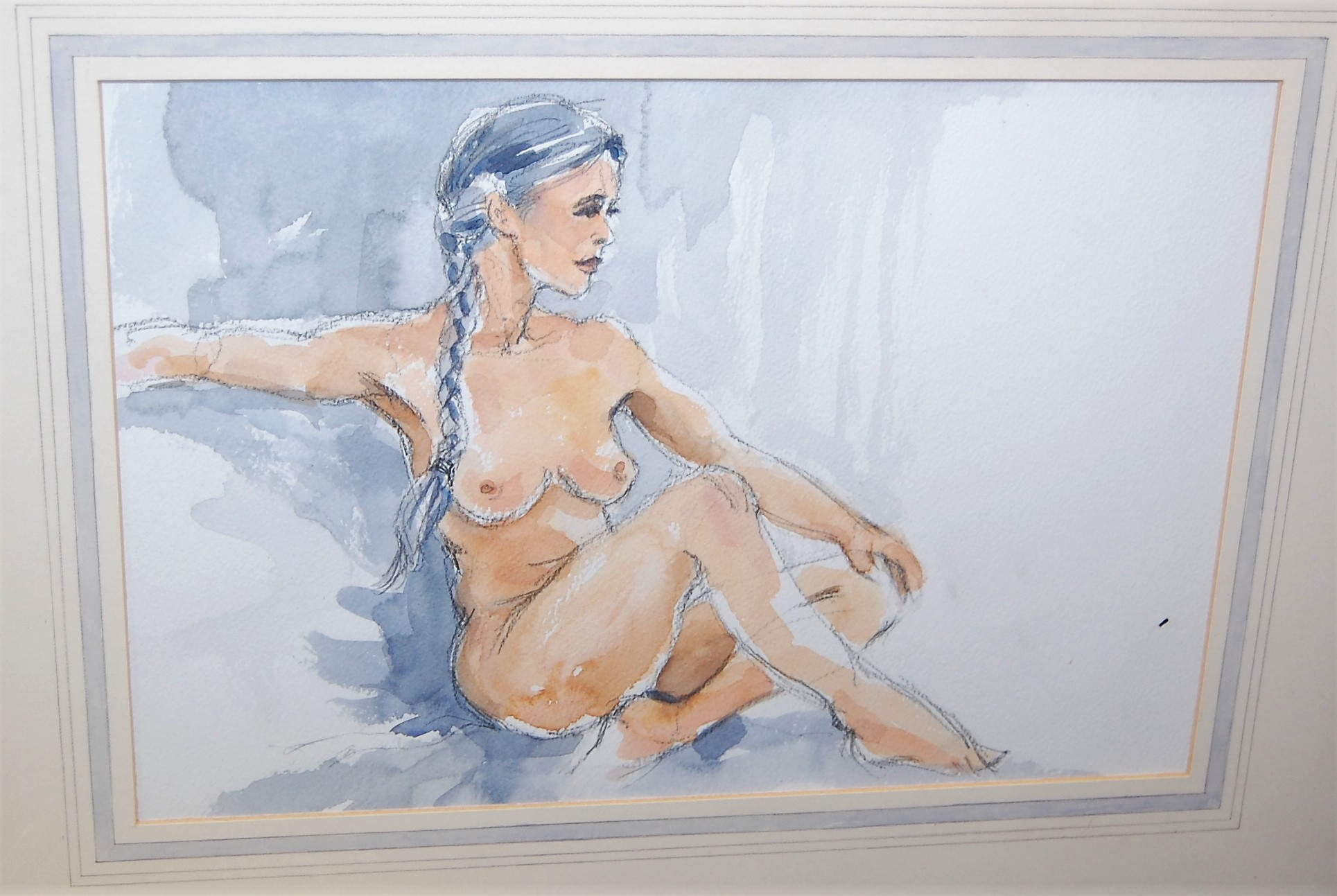 Lot 1055 - Katrinn - Female nude, oil on board, 34 x 26.5cm ; together with a female nude watercolour study and