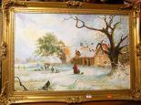 Lot 1019 - After Thomas Smythe - Winter landscape, oil on canvas, 49 x 74cm
